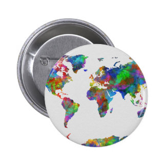 world map watercolor 6 cm round badge
