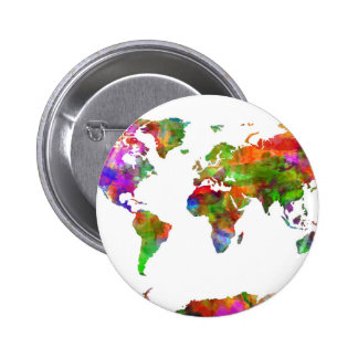 world map watercolor 9 6 cm round badge