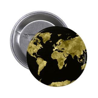 world map watercolor black 6 cm round badge