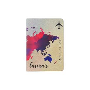 World Map Watercolor Girly Retro Chic Elegant Passport Holder