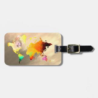 World Map Watercolor Painted Elegant Clean vintage Luggage Tag