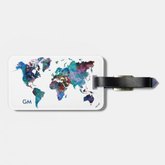 World Map Watercolor painting Custom Monogram Luggage Tag