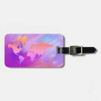 World Map Watercolor Pink Elegant Clean vintage Luggage Tag