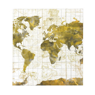 world map watercolor sepia notepad