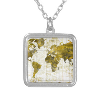world map watercolor sepia silver plated necklace