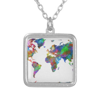 world map watercolor silver plated necklace