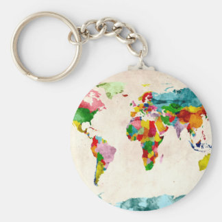 World Map Watercolors Keychains