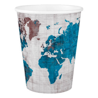 world map white blue paper cup