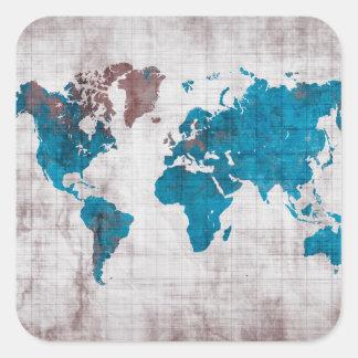 world map white blue square sticker