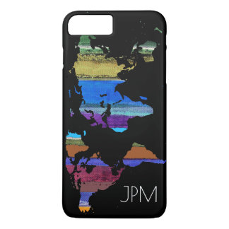world map with color stripes iPhone 7 plus case