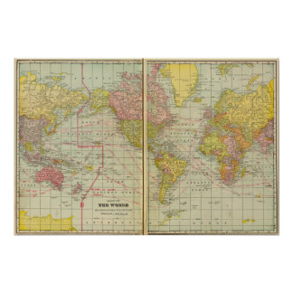 World map with shipping lanes poster