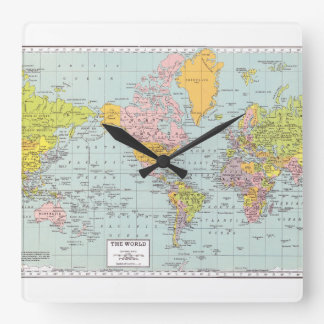 World Map with white border Wallclock