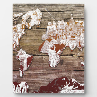 world map wood 11 photo plaque