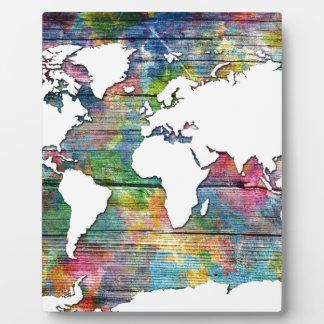 world map wood 12 photo plaques