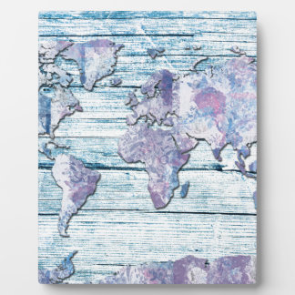 world map wood 14 display plaque