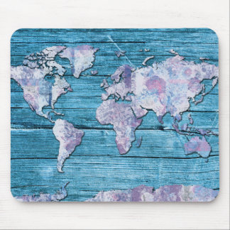 world map wood 15 mouse pad