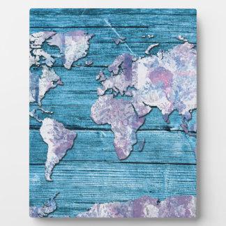 world map wood 15 photo plaques