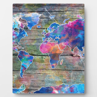 world map wood 1 plaques
