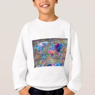 world map wood 1 sweatshirt