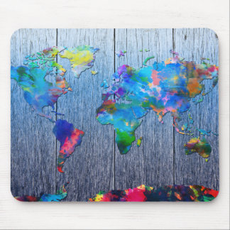 world map wood 2 mouse pad
