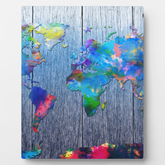 world map wood 2 photo plaque