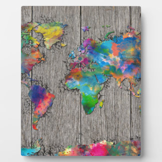 world map wood 3 plaque