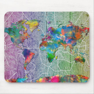 world map wood 4 mouse pad