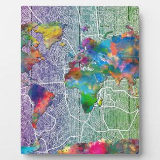 world map wood 4 plaques