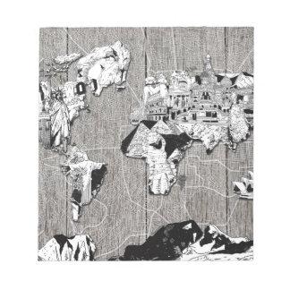 world map wood 5 notepad