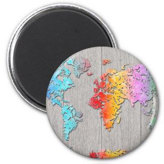 world map wood 7 magnet