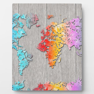 world map wood 7 photo plaques