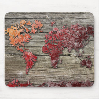 world map wood 9 mouse pad