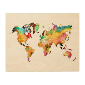 world map wood art
