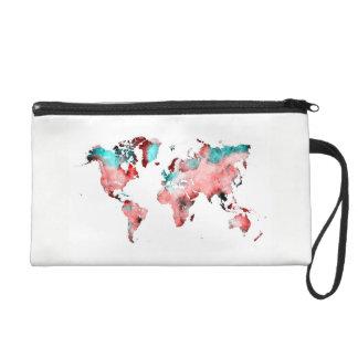 world map wristlet