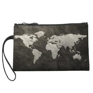 World Map Wristlet Clutch