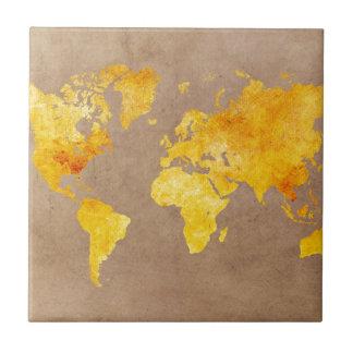 world map yellow ceramic tile