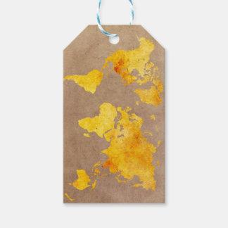 world map yellow gift tags