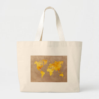 world map yellow large tote bag