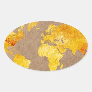 world map yellow oval sticker