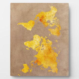 world map yellow plaque