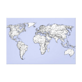 World maps in baby blue stretched canvas print
