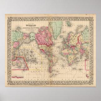 World Mercator proj Map by Mitchell Poster