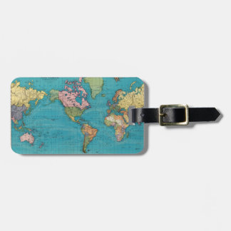 World, Mercator's projection. Luggage Tag