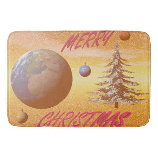 world merry christmas bath mats