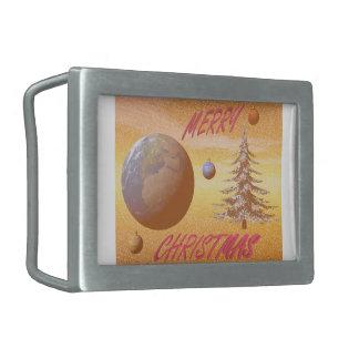 world merry christmas rectangular belt buckle