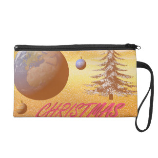 world merry christmas wristlet