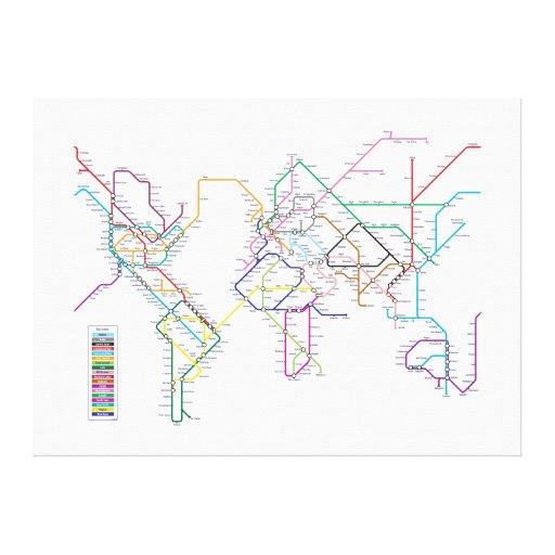World Metro Map Canvas Prints