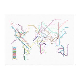 World Metro Map Stretched Canvas Print