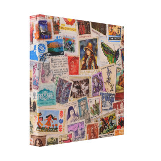 World of Canceled Stamps - Canvas Art Canvas Print