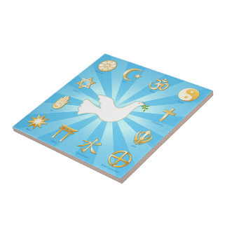 World of Peace Small Square Tile